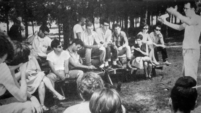 Cornell students gather at a park in Fayette County, Tennessee, in 1964 to discuss voter registration for Black citizens.