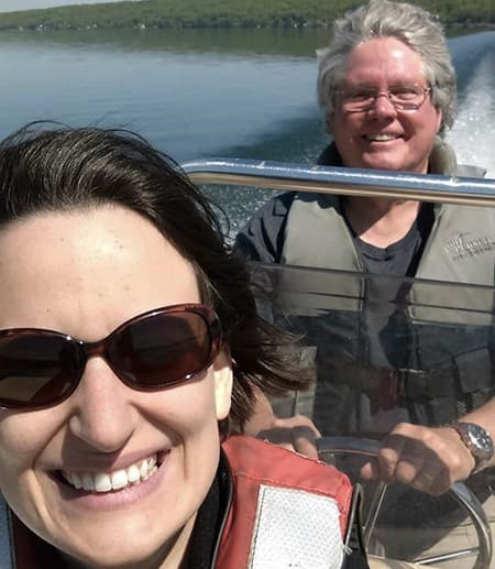 Nelson Hairston with lab manager Lindsay Schaffner on Cayuga Lake on a boat